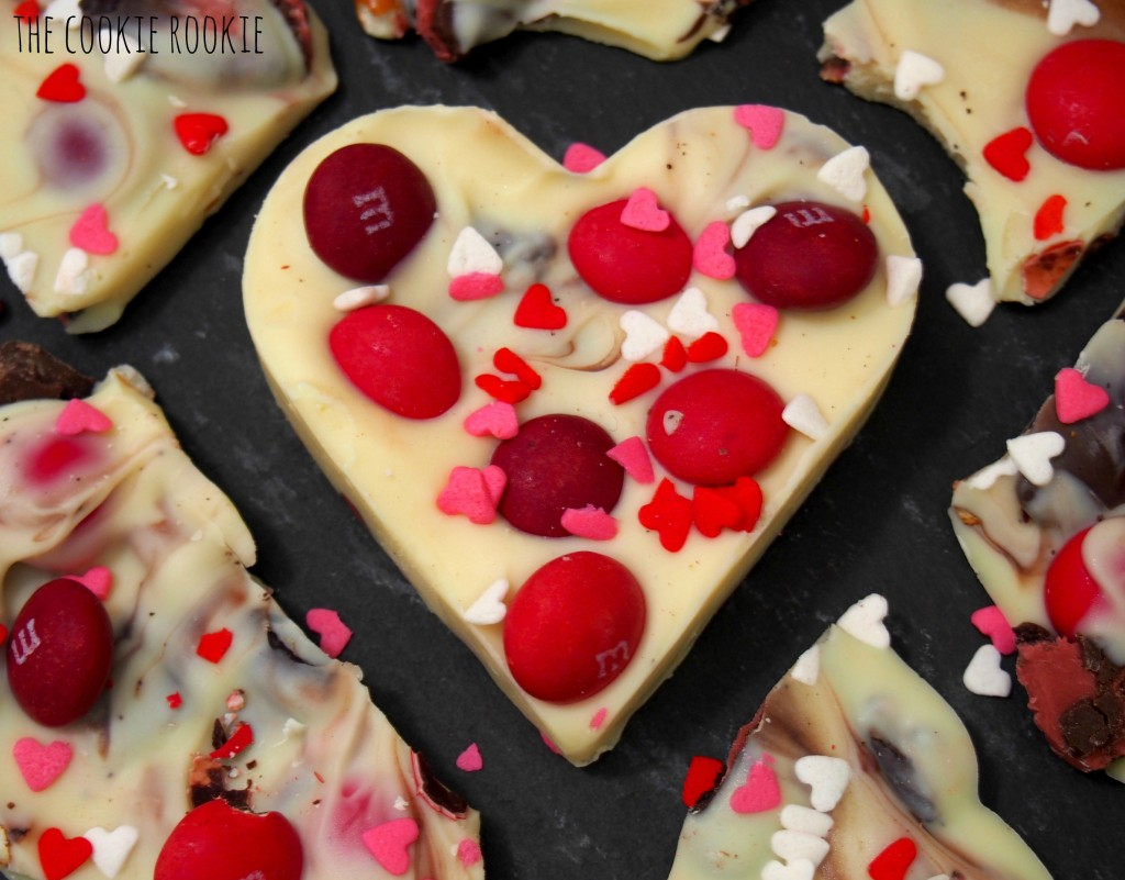White Chocolate Valentine's Bark, made with Cherry M&Ms and Raspberry Oreos.  YUM!