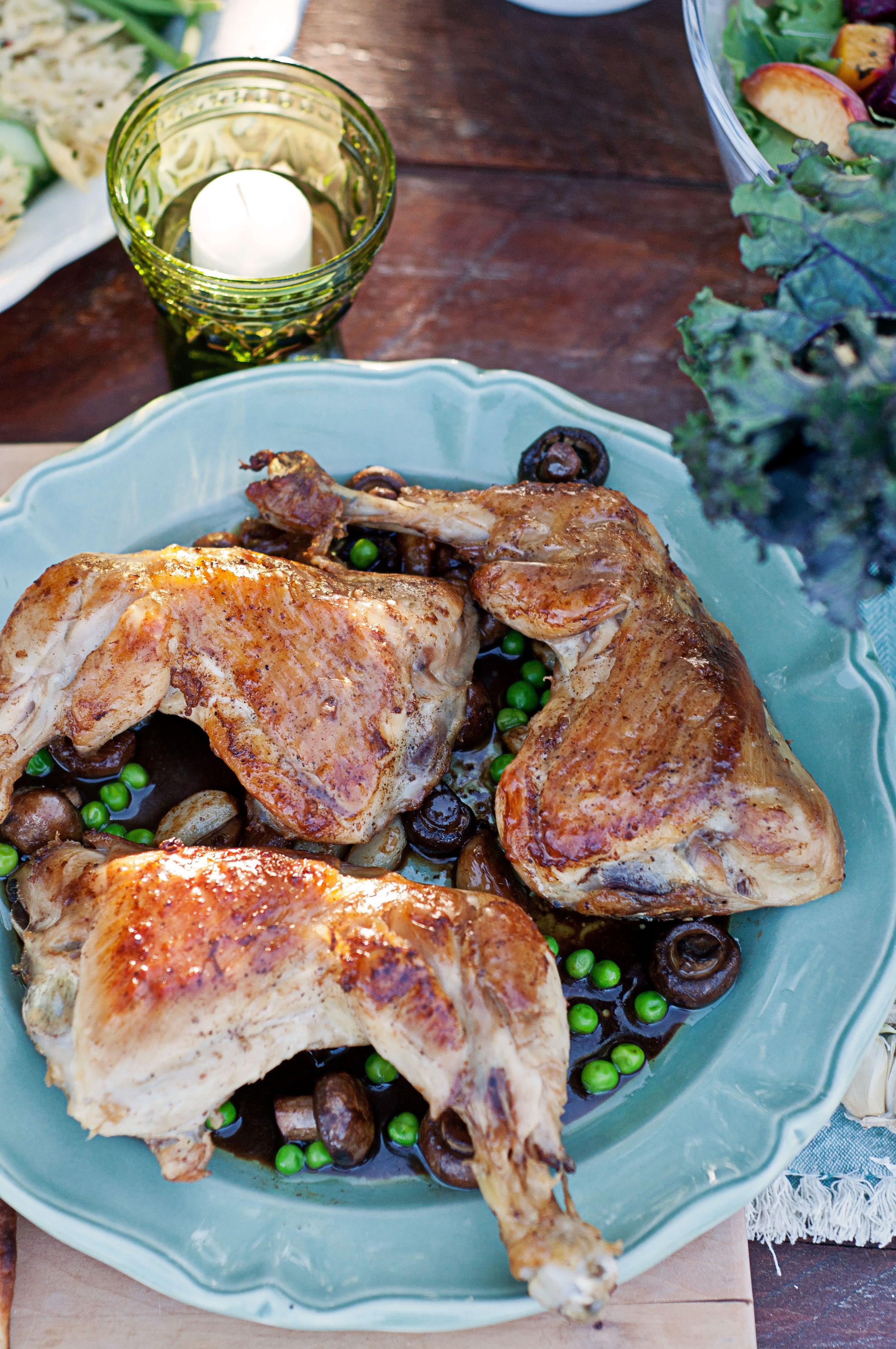 Garlic Chardonnay Chicken Thighs with Mushrooms and Peas | My Cooking ...