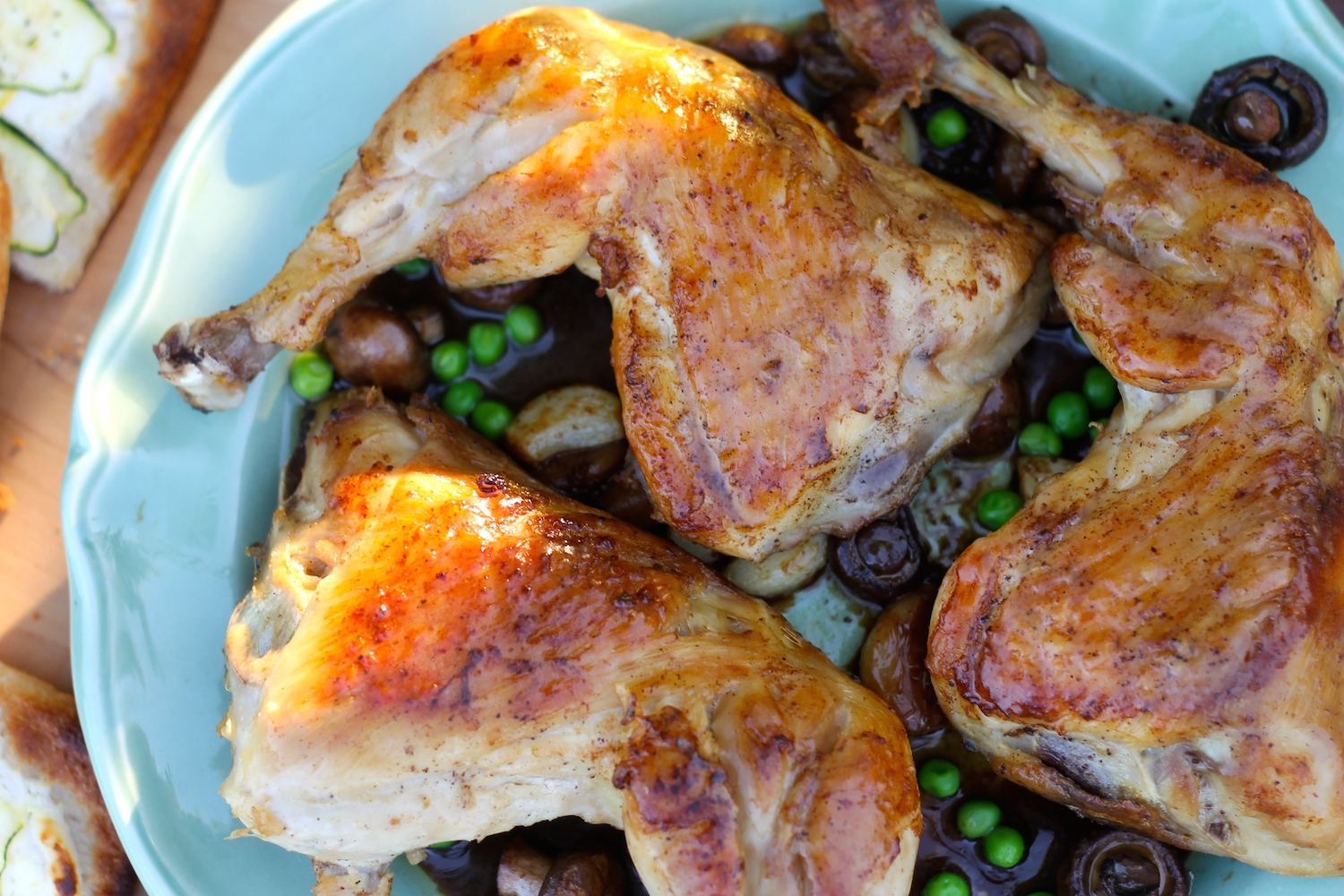 Garlic Chardonnay Chicken Thighs with Mushrooms and Peas