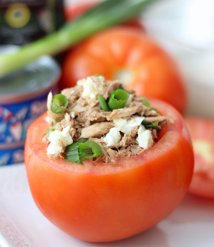 Caprese Tuna Salad Stuffed Tomatoes