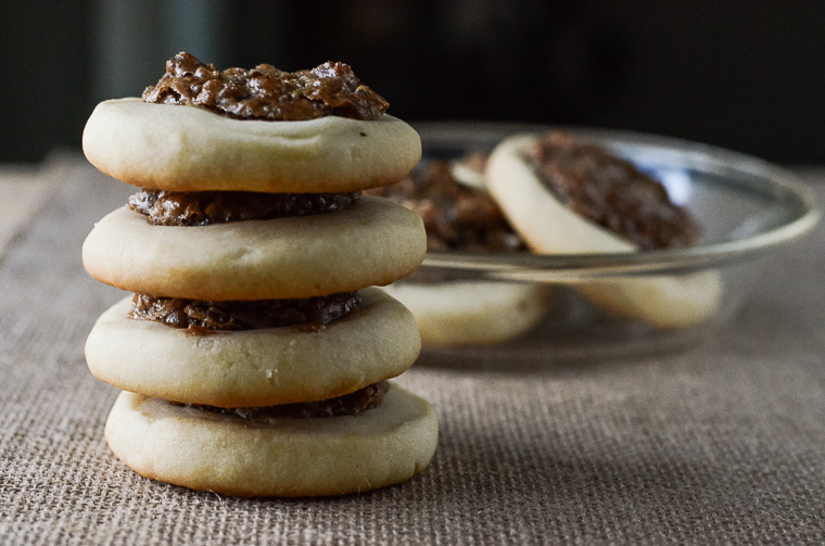 Pecan Pie Shortbread Cookies | Your favorite cookie topped with a sweet pecan filling