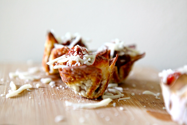 Lasagna Bites in Wonton Shells // Erin Skinner from The Speckled Palate for My Cooking Spot
