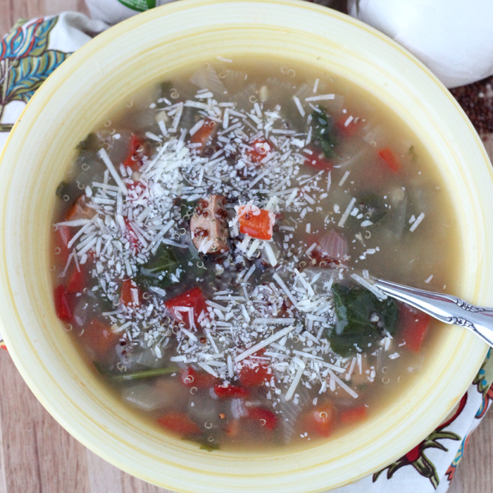 Sausage, Red Pepper, and Spinach Soup with Quinoa