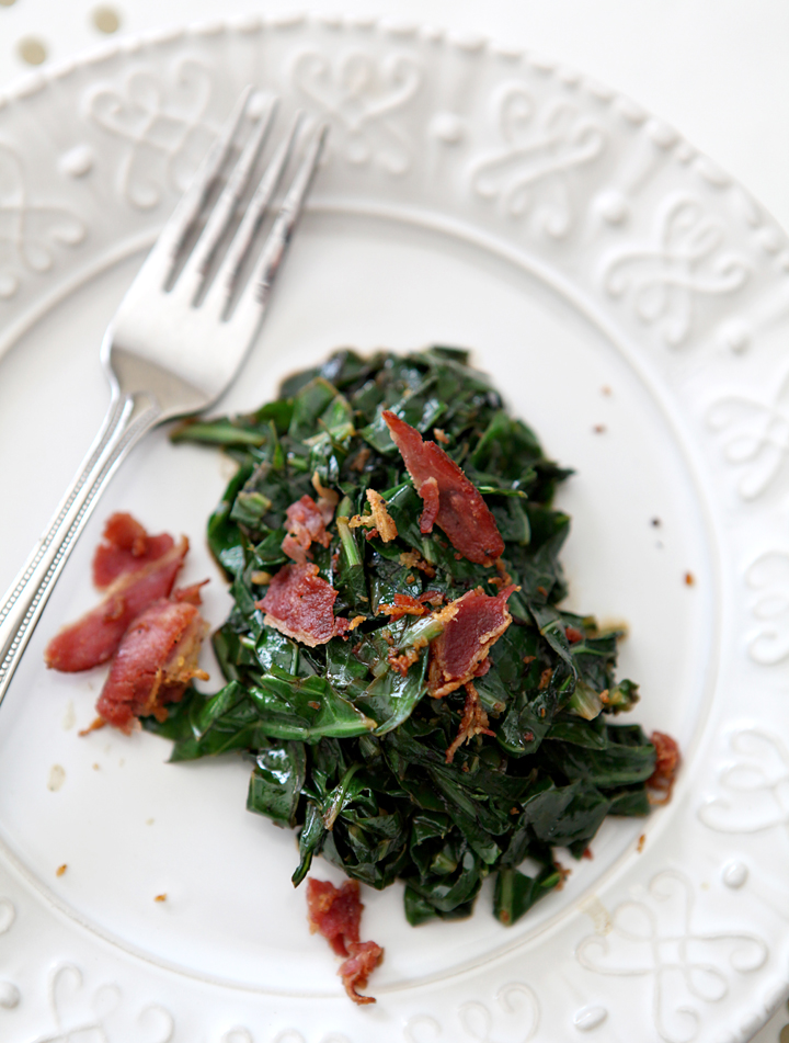 Bacon Collard Greens // Erin Skinner of The Speckled Palate for My Cooking Spot