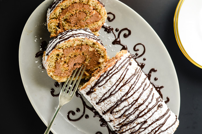 Banana Hazelnut Cake Roll