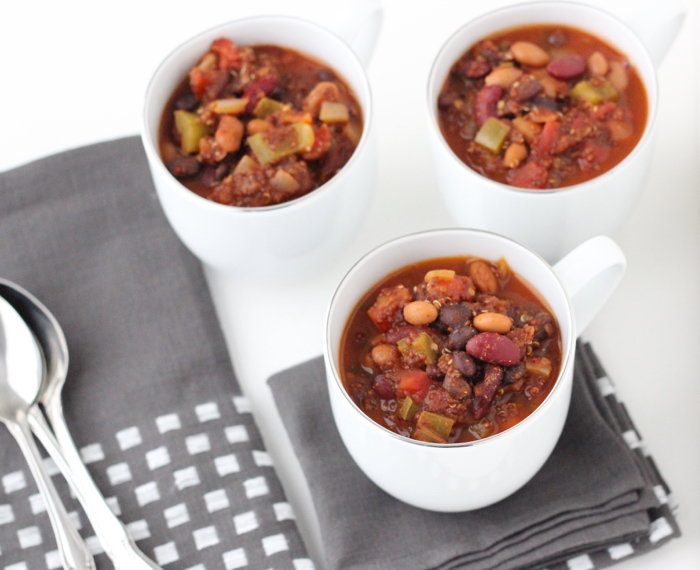 Three Bean and Quinoa Chili
