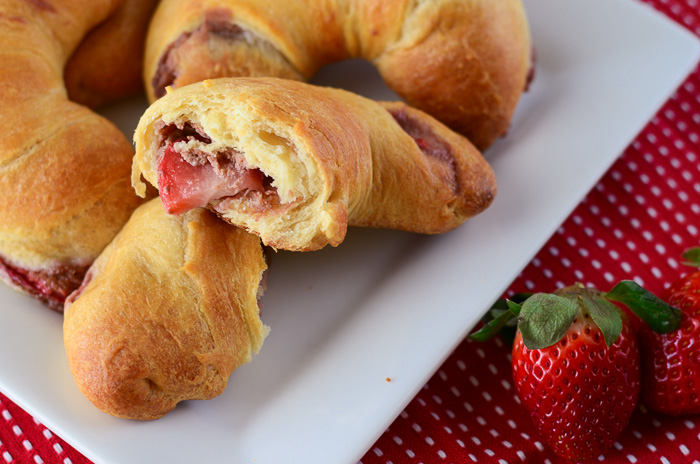 Strawberry Hazelnut Cream Croissants