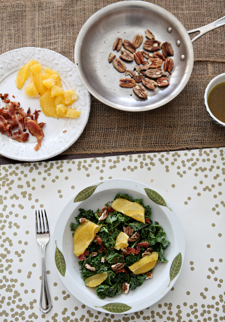 Mandarin Kale Salad // Erin Skinner of The Speckled Palate for My Cooking Spot