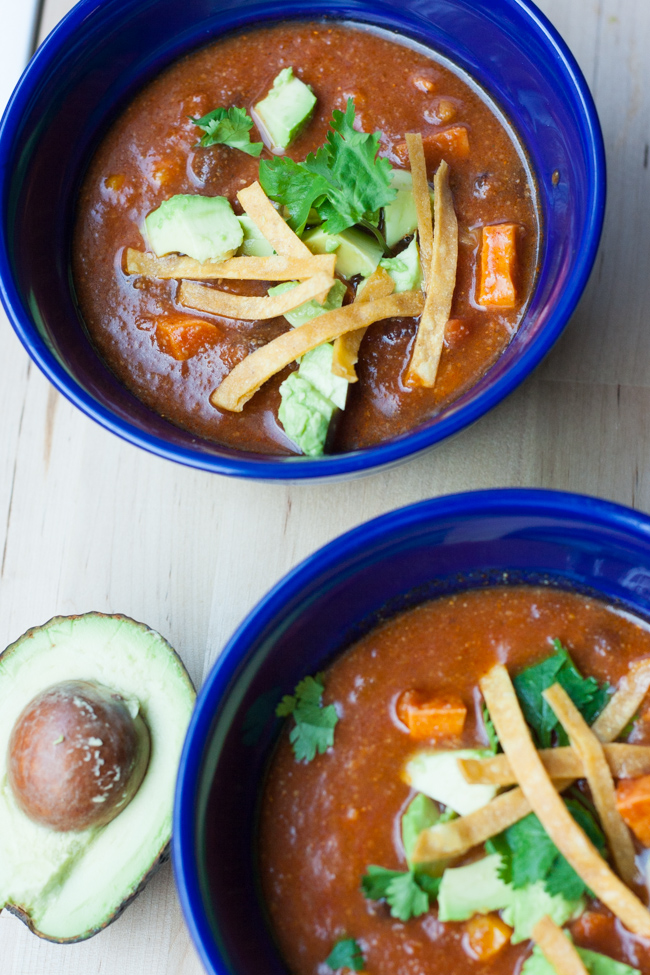 I can't get enough of the smokey, sweet, spiciness of this Southwestern sweet potato and black bean soup!