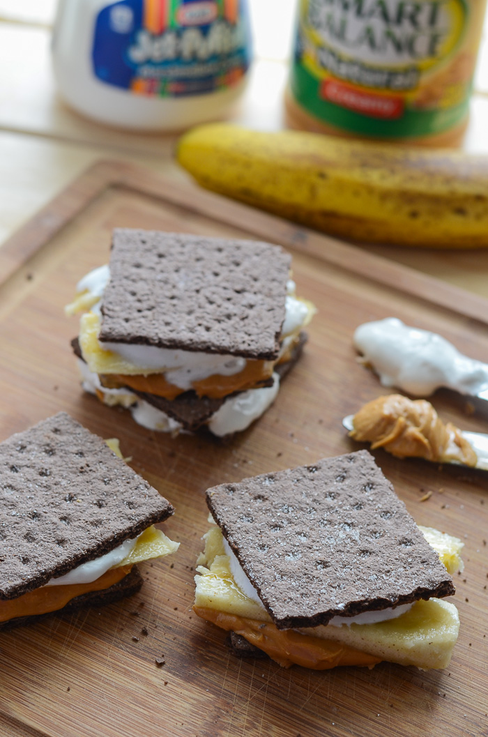 Easy Peanut Butter Banana S'mores   The easiest s'more ever! Four simple ingredients and no heat involved are sure to make for four happy mouths - or one, your choice!
