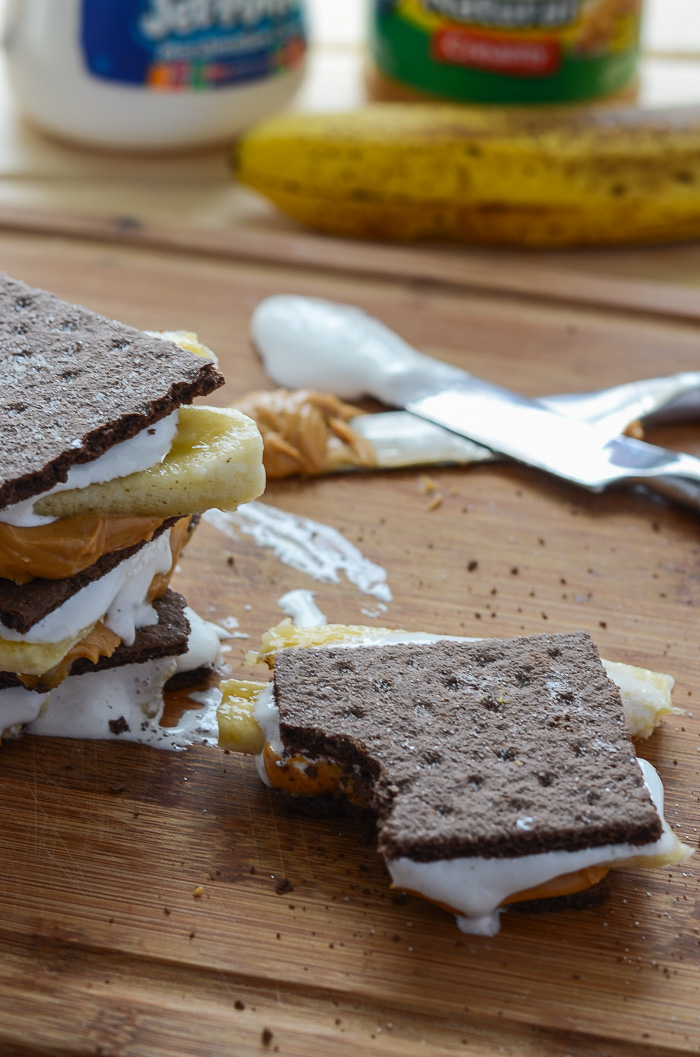 Easy Peanut Butter Banana S'mores   The easiest s'mores ever! Four simple ingredients and no heat involved are sure to make for four happy mouths - or one, your choice!