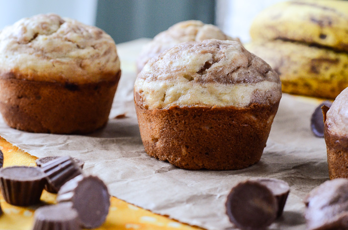 Peanut Butter Banana Marble Muffins