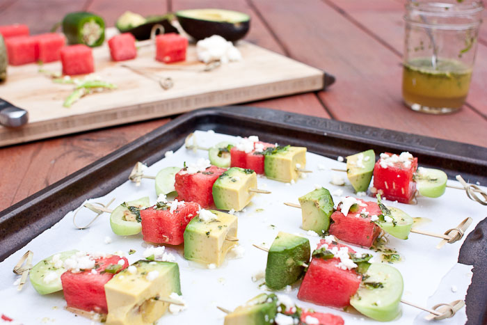 Avocado Watermelon & Tomatillo Skewers with Jalepeno Honey Lime ...