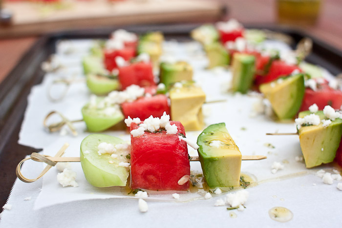 This fruit skewer is juicy, tart, creamy, and spicy all in one bite. They disappeared first at the party!