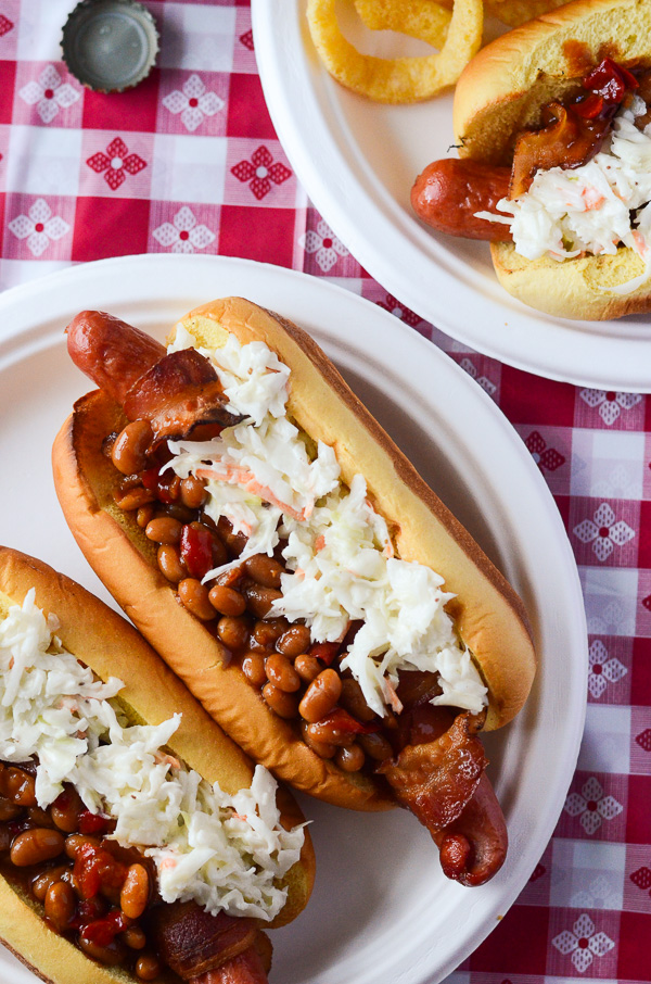 Bacon-Wrapped Summer BBQ Hot Dogs - skip the forks! | Get the recipe on MyCookingSpot.com!