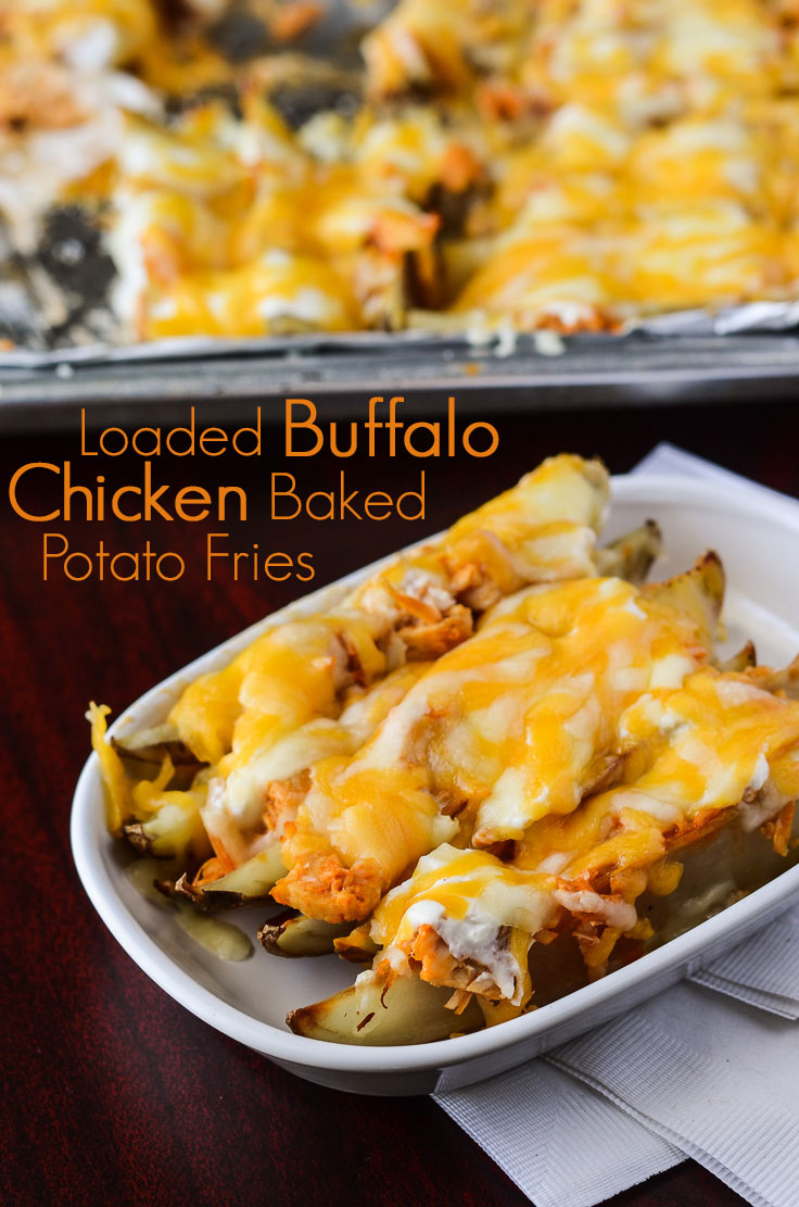 Loaded Buffalo Chicken Baked Potato Fries | The ultimate side dish! Get the recipe on MyCookingSpot.com!