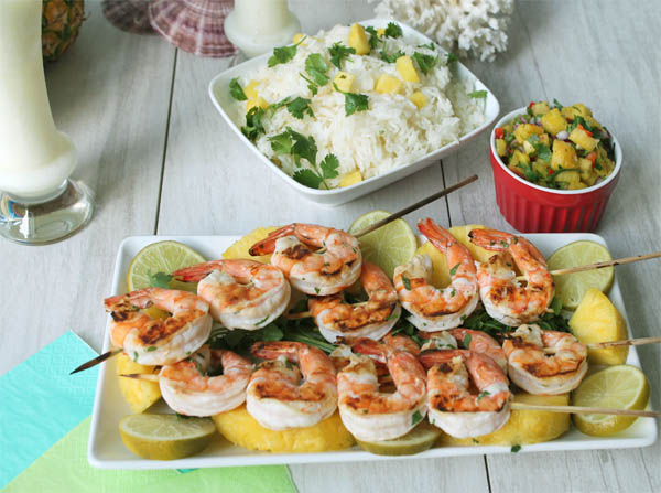 Pina Colada Shrimp dinner