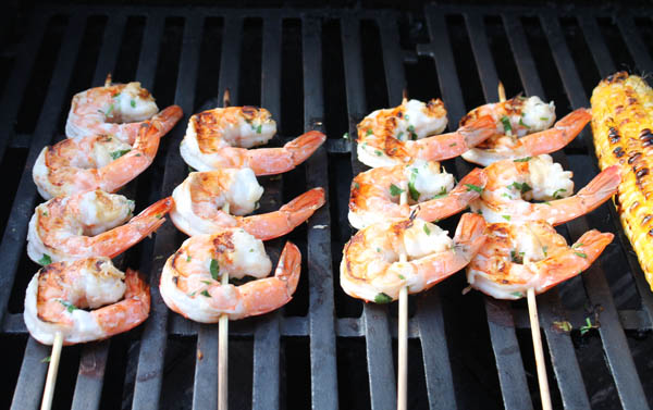 Pina Colada Shrimp on grill