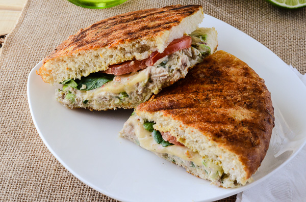 Spicy Tuna Avocado Panini Melt - creamy, spicy, melty goodness | Get the recipe on MyCookingSpot.com!