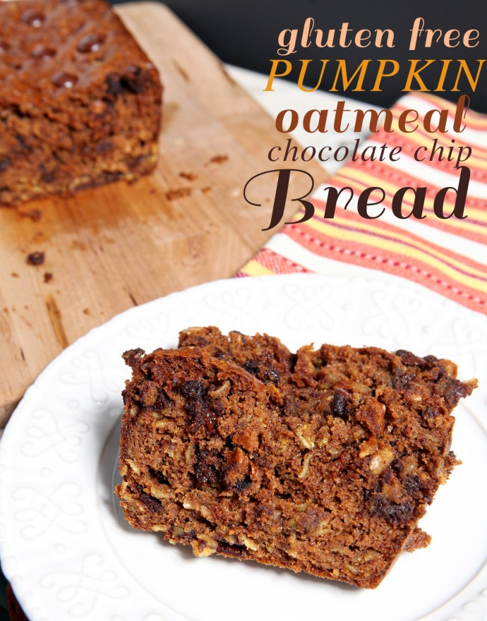 'Tis the season for Pumpkin Bread! What's better than the traditional recipe? A gluten free Pumpkin Oatmeal Chocolate Chip Bread, chock full of pumpkin, oats and dark chocolate, and baked to perfection.