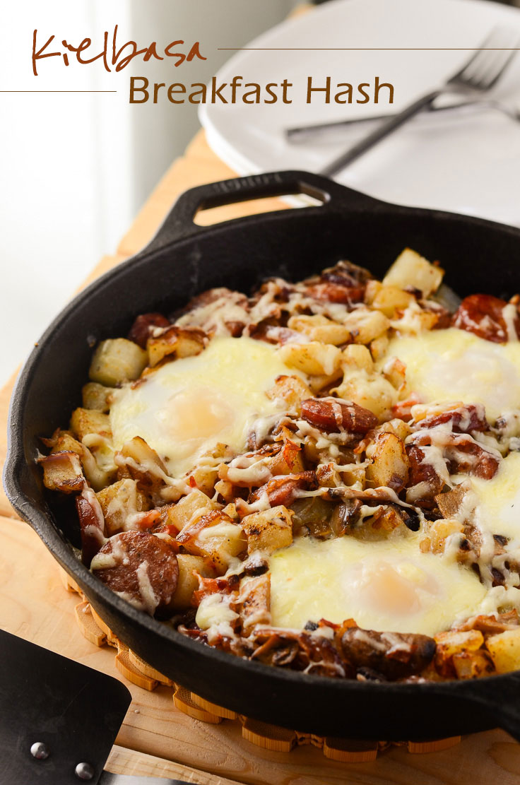 Kielbasa Breakfast Hash - A filling breakfast, thrown together in 30 minutes! | Get the recipe on MyCookingSpot.com!