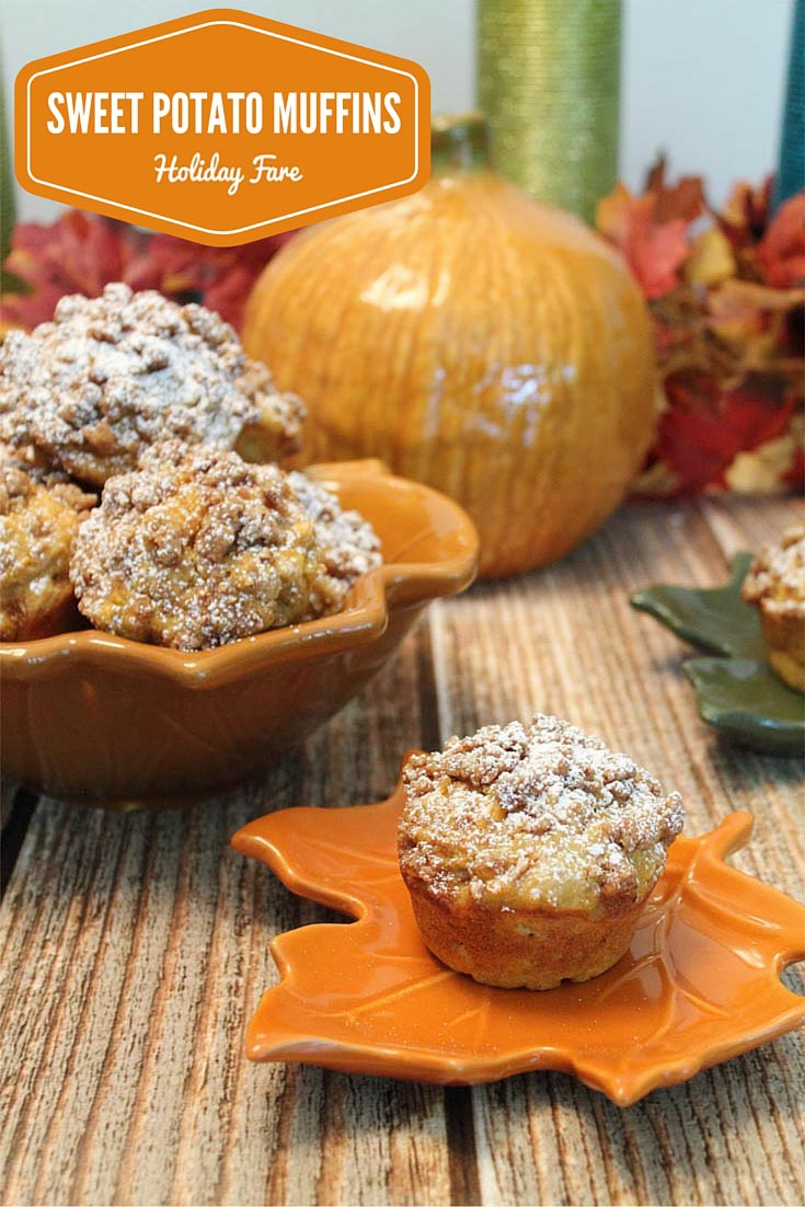 Sweet Potato Muffins pin - the perfect muffin for your holiday table. Fall flavors of sweet potatoes combine with pumpkin pie spices makes this great for breakfast, snack or as an addition to your dinner table.
