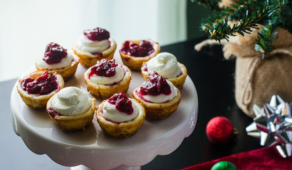 Cranberry Bourbon Cheesecake Bites - a delightful treat at any holiday party! | Get the recipe on MyCookingSpot.com!