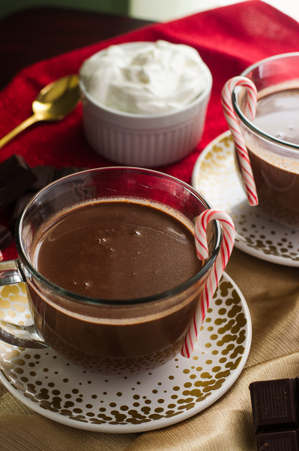 Peppermint French Hot Chocolate - rich & decadent & perfect for cold weather! | Get the recipe on MyCookingSpot.com!