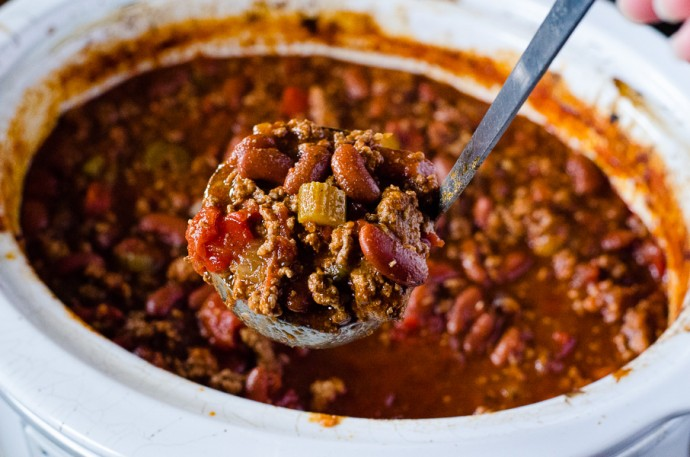 East Slow Cooker Chili - toss it on in the morning, have it ready by game time (or dinnertime!) | Get the recipe on MyCookingSpot.com!