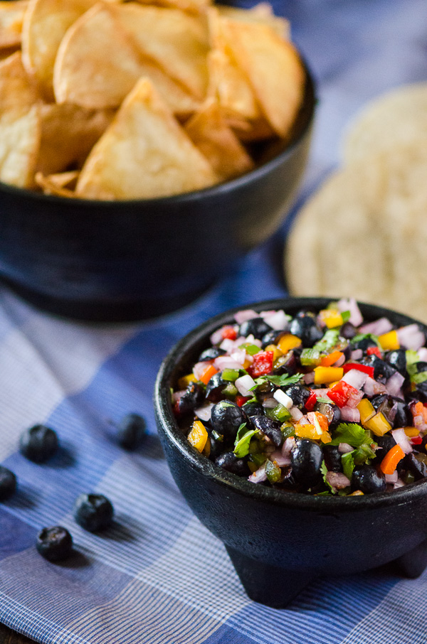 Blueberry Salsa with Homemade Tortilla Chips - flavorful blueberry-studded salsa, scooped up with freshly fried tortilla chips   Get the recipe on MyCookingSpot.com!
