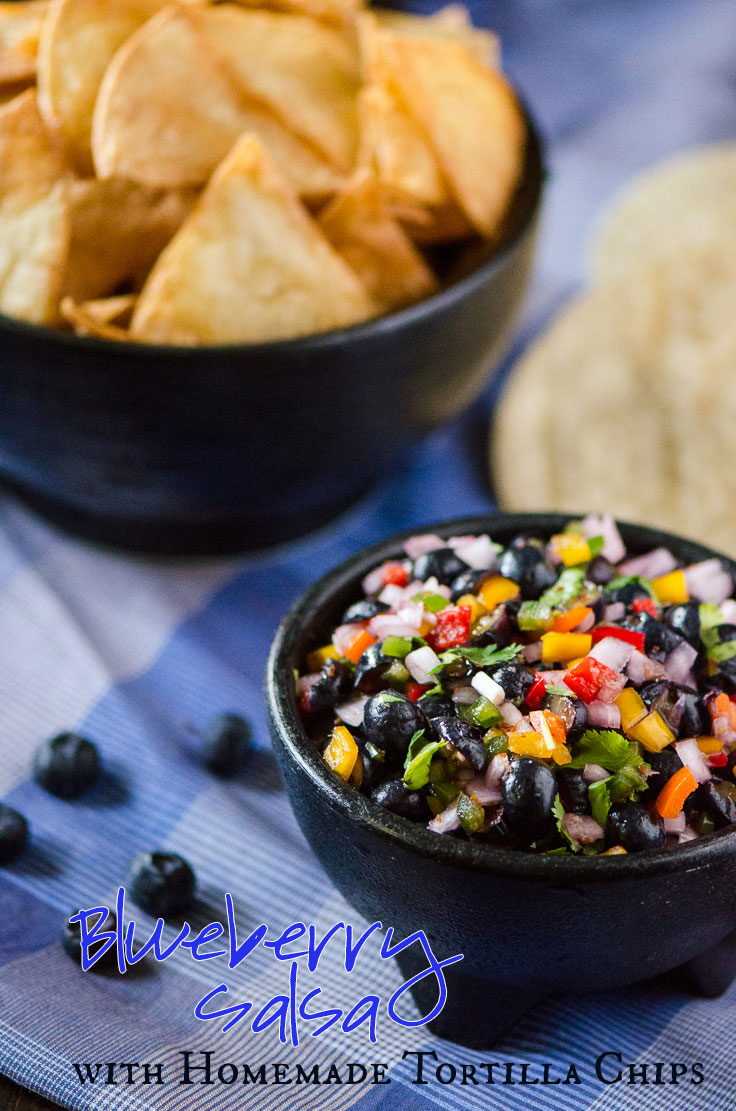Blueberry Salsa with Homemade Tortilla Chips - flavorful blueberry-studded salsa, scooped up with freshly fried tortilla chips | Get the recipe on MyCookingSpot.com!