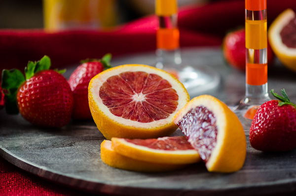 Strawberry Blood Orange Mimosas - A sweet, romantic twist on a classic mimosa. | Get the recipe on MyCookingSpot.com!