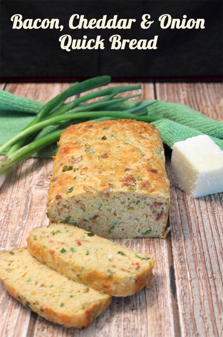 Bacon Cheddar and Onion Quick Bread An easy to make bread that boasts plenty of flavor. Bacon, cheddar and green onions flavor a dense quick bread that pairs well with just about anything!