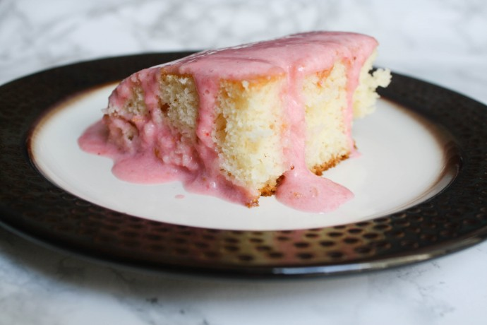 This pretty Strawberry Cream Cheese Poke Cake is a simple Spring dessert. Perfect for Easter or just because!