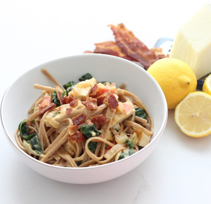 Chicken, Bacon and Spinach Pasta