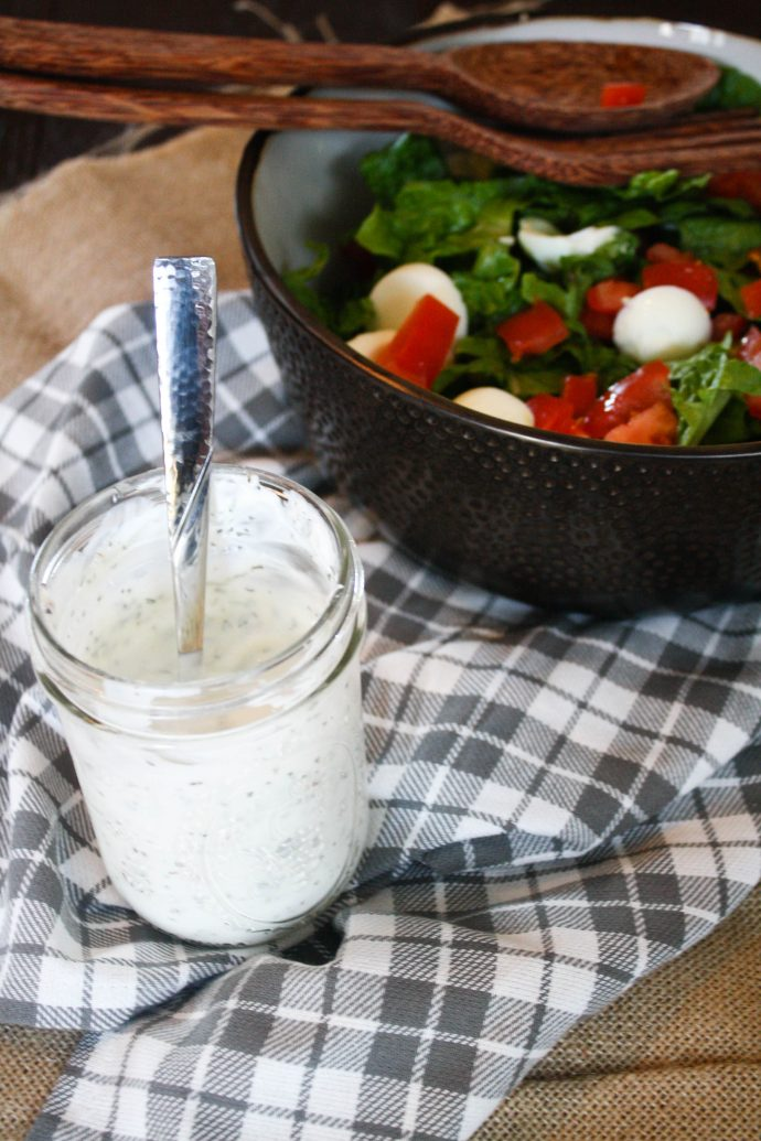 Make this Healthy Ranch Dressing to use on your favorite salad or as a dip for veggies.
