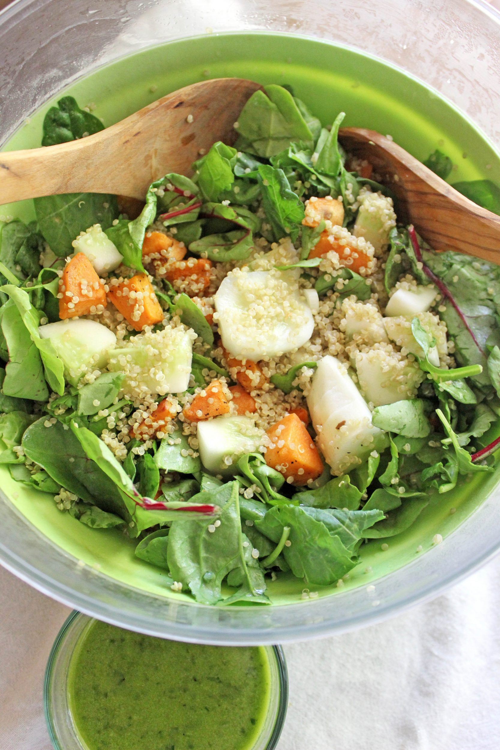 Kale Salad with Quinoa, Sweet Potatoes and Cucumbers