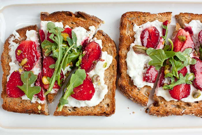 Image result for toast goat cheese and strawberry